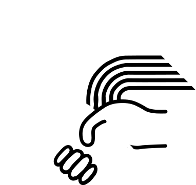 Portland DSA logo: The logo has a red background with outline graphic images in the foreground. Two hands shaking in front with curved line graphics behind them, and a rose behind those.